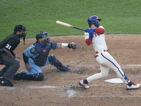 Phillies right fielder Bryce Harper hits a two-run home run during the fifth inning against the Blue Jays at Citizens Bank Park in Philadelphia, Friday, Sept. 18, 2020.