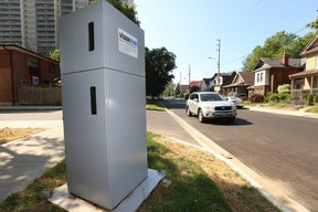 An automated speed enforcement camera in East York. located on Barrington Ave. northeast of Danforth Ave. and Main St. on July 6, 2020.