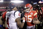 Kansas City Chiefs quarterback Patrick Mahomes, right, and Houston Texans quarterback Deshaun Watson greet each other after an NFL divisional playoff football game Sunday, Jan. 12, 2020, in Kansas City, Mo.