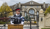 York Regional Police Supt. Mike Slack during a press conference in front of 5 Decourcy Court, near Major Mackenzie Blvd. and Warden Ave. in Markham, Ont. on Wednesday September 30, 2020. The mansion was seized as a part of Project End Game because it was allegedly being used as a gaming house.