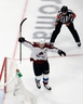 Nathan MacKinnon of the Colorado Avalanche celebrates a goal against the Dallas Stars during Game 6 in Edmonton on Wednesday night.