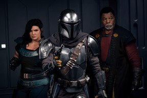 Gina Carano, Pedro Pascal and Carl Weathers in a scene from Season 2 of The Mandalorian.