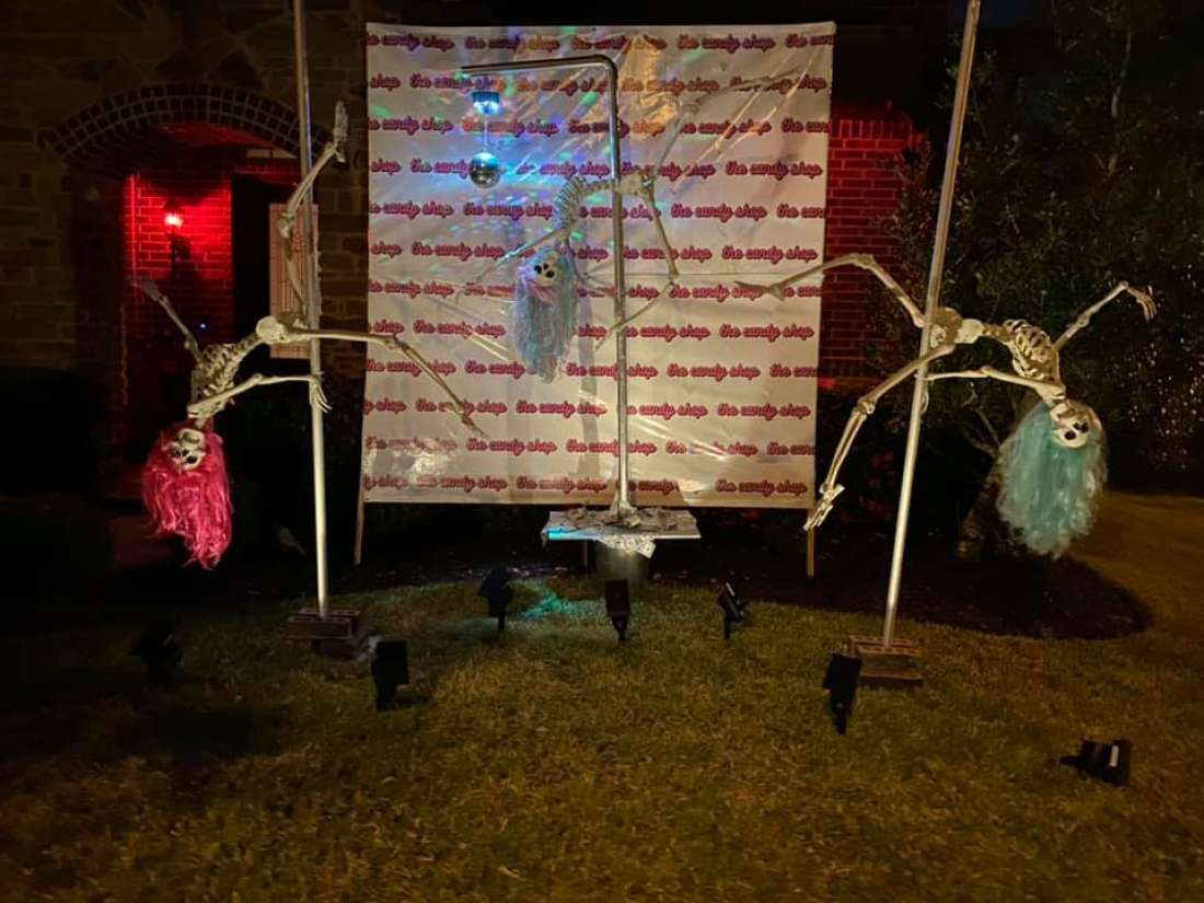 Skeleton strippers dancing outside home for Halloween raise eyebrows, says owner