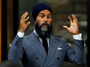 Canada's New Democratic Party leader Jagmeet Singh speaks in parliament during Question Period in Ottawa, Ontario, Canada September 29, 2020.