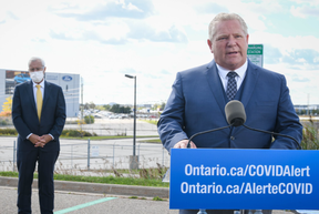 """Premier Doug Ford and Minister of Economic Development, Job Creation and Trade Vic Fedeli were on hand as the provincial and federal governments announced they will each provide $295 million to Ford Canada's Oakville Assembly Complex for a """"global hub"""" for electric vehicle battery production."""