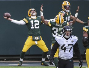 Green Bay Packers quarterback Aaron Rodgers celebrates a touchdown earlier this season.