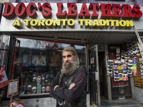 Doc Von Lichtenberg, of Doc's Leather on Queen St. W. in Toronto on Thursday, Nov. 19, 2020.