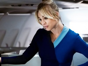Kaley Cuoco plays Cassandra Bowden on The Flight Attendant, streaming on Crave.