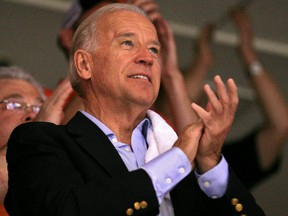 Former  U.S. Vice President Joe Biden attends Game 4 of the 2010 Stanley Cup Final between the Chicago Blackhawks and the Philadelphia Flyers.