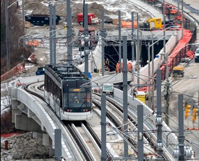 A light-rail vehicle is seen being tested along Line 5 -- the Eglinton Crosstown.