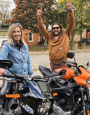 A Cambridge Harley-Davidson shop delivered actor Jason Momoa and his crew some rental motorcycles.