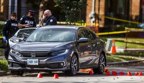 Toronto Police on Patika Ave., west of Merrill Ave., in the Lawrence and Jane area, after a fatal shooting in Toronto, Ont. on Thursday October 1, 2020. Ernest Doroszuk/Toronto Sun/Postmedia