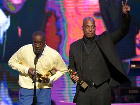 Honorees Jalil Hutchins (L) and John 'Ecstasy' Fletcher of Whodini accept an award onstage during the 2018 Black Music Honors at Tennessee Performing Arts Center on August 16, 2018 in Nashville, Tennessee.