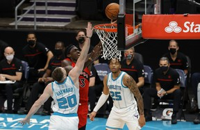 Raptors' Pascal Siakam goes to the hoop against the Charlotte Hornets.