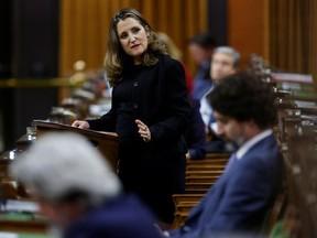 Finance Minister Chrystia Freeland speaks in the House of Commons after unveiling her first fiscal update, the Fall Economic Statement 2020, in Ottawa November 30, 2020.