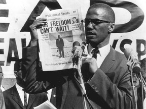 Malcolm X addresses a rally in New York in July, 1963.