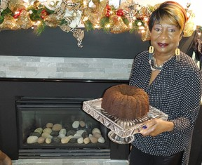 Mary Bishop with one of her famous Christmas cakes