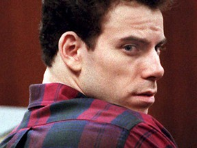 Erik Menendez appears in court 27 October during  a pre-trial hearing in order for the court to set a new date for his murder trial. Erik and his brother Lyle will stand trial a second time for the murder of their parents. The judge in the first attempt at trying them declared a mistrial.