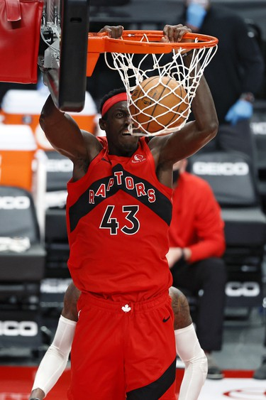Jan 11, 2021; Portland, Oregon, USA; Toronto Raptors power forward Pascal Siakam (43) dunks the ball against the Portland Trail Blazers during the second half at Moda Center. Mandatory Credit: Soobum Im-USA TODAY Sports ORG XMIT: IMAGN-443636