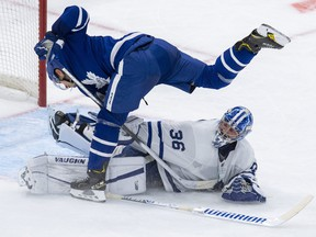 Maple Leafs' Jason Spezza is stopped by goaltender Jack Campbell during a shootout following first period scrimmage action on Saturday night.