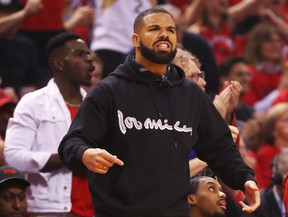 Rapper Drake attends Game 6 of the Eastern Conference final between the Milwaukee Bucks and the Toronto Raptors at Scotiabank Arena on May 25, 2019 in Toronto.
