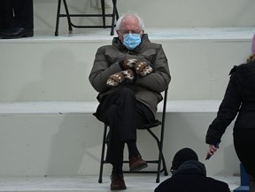 Former presidential candidate, Senator Bernie Sanders sits in the bleachers on Capitol Hill before Joe Biden is sworn in as the 46th U.S. President on Jan. 20, 2021, at the U.S. Capitol in Washington, D.C.