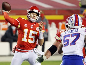 Patrick Mahomes of the Kansas City Chiefs throws a pass against the Buffalo Bills during the AFC Championship game at Arrowhead Stadium on January 24, 2021 in Kansas City.