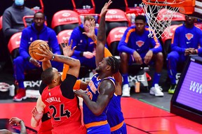 Norman Powell goes up for a shot against the New York Knicks.
