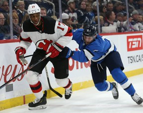 New Maple Leafs winger Wayne Simmonds skates last season against Winnipeg.