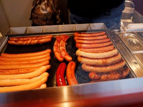 """Sausages, also known as """"French hot dogs"""" are seen at a sausage stand in Copenhagen, Denmark January 18, 2021."""