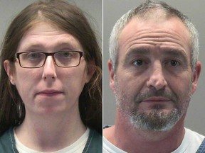 Jessica Marie Watkins, 38, Donovan Ray Crowl, 50, are pictured in booking photographs at the Montgomery County Jail in Dayton, Ohio, Jan. 18, 2021.