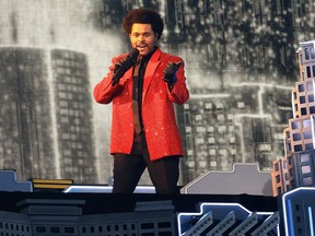 The Weeknd performs at Raymond James Stadium on Feb. 7, 2021 in Tampa, Fla.