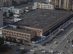 The view of Huanan seafood market on Feb. 9, 2021 in Wuhan, Hubei Province, China.
