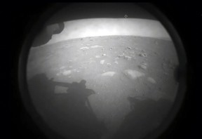 This NASA photo shows the first images from NASA's Perseverance rover as it landed on the surface of Mars on February 18, 2021.