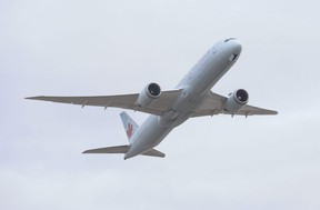 An Air Canada 787 passenger plane takes off at Pearson International Airport on Sunday January 24, 2021.