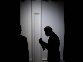 U.S. President Joe Biden leaves after speaking about the American Rescue Plan and the Paycheck Protection Program (PPP) for small businesses in response to coronavirus, in the Eisenhower Executive Office Building in Washington, D.C, Feb. 22, 2021.