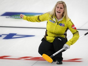 Team Manitoba skip Jennifer Jones reacts as she makes her last shot against Team Saskatchewan at the Scotties Tournament of Hearts in Calgary, Alta., Monday, Feb. 22, 2021.