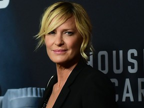 Robin Wright arrives at the premiere of 'House of Cards' final season in Los Angeles, Calif. on Oct. 22, 2018.