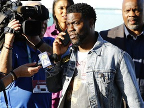 Comedian Kevin Hart talks to press before Super Bowl LIV at Hard Rock Stadium on Feb. 2, 2020 in Miami, Fla.