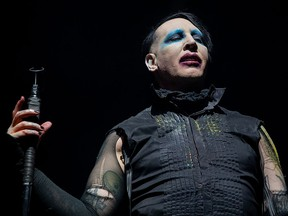 In this file photo, Marilyn Manson performs during the Astroworld Festival at NRG Stadium on November 9, 2019 in Houston.