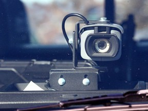 A dash mounted camera is shown on a police vehicle in this file photo.