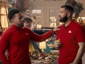 "Rapper Drake, right, appeared as ""Drake from State Farm,"" a riff on the insurance company's longstanding ""Jake from State Farm"" pitchman."