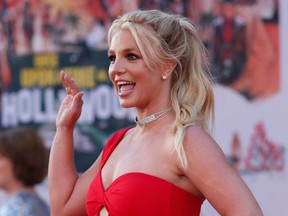 "Britney Spears poses at the premiere of ""Once Upon a Time In Hollywood"" in Los Angeles, July 22, 2019."