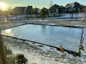 O Canada! Roger Sloan's outdoor rink at his home in Houston, Texas.