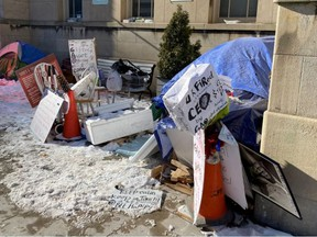 A photo showing the encampment outside the Anne Johnston Health Station.