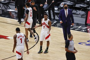 Toronto Raptors guard Kyle Lowry (7) reacts after receiving second technical foul and being ejected from Sunday's game against Chicago.