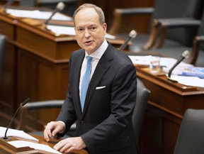 Ontario Finance Minister Peter Bethlenfalvy delivers the Provincial Budget in the Ontario Legislature in Toronto on Wednesday March 24, 2021.