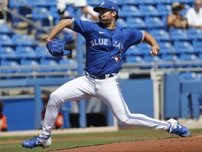 Blue Jays starting pitcher Robbie Ray (38) throws a pitch during the second inning against the Baltimore Orioles at TD Ballpark on Saturday. The Blue Jays won 5-0.