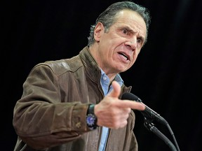 New York Governor Andrew Cuomo speaks during a press conference before the opening of a mass vaccination site in the Queens borough of New York February 24, 2021.