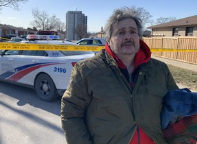 Sabine Polidoro outside his family home on Mayberry Rd., the scene of a fatal blaze, on Thursday, March 4, 2021.